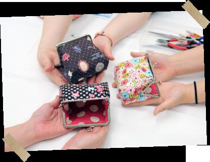 生地を選んで、縫ってオリジナルのがま口雑貨が完成